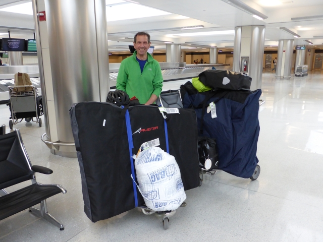 One Jumbo, two bikes and ten panniers – heading Stateside.